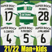 Sporting CP Soccer Jerseys Lisbon S.Coates Pedro G. N.Mendes Football Jersey Jovane J.Mário J.Palhinha Shirts Paulinho Nuno Santos Tabata Man Kid Camisa de SCP 2021/22