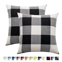 Подушка / декоративная подушка набор из 2 геометрических квадратов броска чехол северная подушка для подушки сельской местности Стиль черно-белого удержания