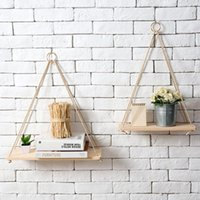 Hooks & Rails Premium Wood Swing Hanging Rope Wall Mounted Shelves Plant Flower Pot Rack Indoor Outdoor Decoration Simple