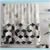 Aessories Home & Gardenmarble Pattern Waterproof Shower Curtains Geometric Strip Bath Screen Printed Curtain For Bathroom Gift Navidad Drop