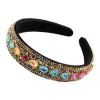 Chunky Bunte Glas Strass Perle Kristall Stirnbänder Für Frauen Mode Teardrop Stein Schwarz Band Haarbänder Haarschmuck