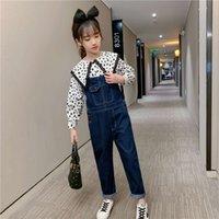 Shirts physische shootingwern girls 'Spitze Hosenträger SLE Suit Dot 5 Hemd Ein Stück Jeans 2-teilige Kinderkleidung