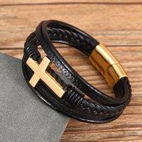 Stainless Steel Gold Men's Leather Bracelets Multi Layer Braided Cross Black Bracelet