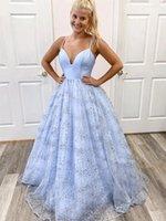 Light Blue Evening Dress Unique Design Sparkle Skirt Spaghetti Straps Long Prom Dresses for Special Occasions Custom Made