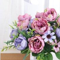 Flores decorativas guirnaldas de seda retro peonía artificial de alta calidad pequeño ramo de flores falsas para el hogar de boda casero supermercado decoratio