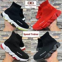 2021 Moda Balenciagağa Hız Trainer Paris Erkek Casual Çorap Ayakkabı Üçlü Siyah Beyaz Yeşil Kırmızı Kraliyet Erkekler Sneakers Kadın Eğitmenler ABD 6-12