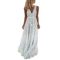 Casual Dresses Boho V Neck Women Maxi Dress Sleeveless Embroidery Polka Dot Long Beach Vacation Holiday Lady Vestidos 2021 Summer D30