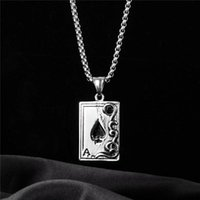 Pendant Necklaces Luxury Aces Of Spades A Alphabet Chain Necklace Punk Hip-Hop Style Fashion Woman Stainless Steel Cool Jewelry Gifts