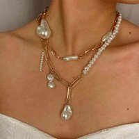Natürliche barocke perle mode kreative unregelmäßige metallkette collarbone halskette weibliche hochzeit banquet schmuck