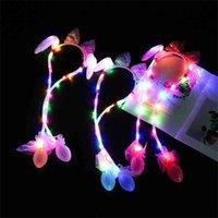 Tiktok Led Light muoverà il coniglio orecchio cerchio capelli fasce per bambini Paillettes per bambini Bowknot Lace Hair Hoop Airbag può muovere regali di compleanno di Natale G61393s