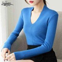 Manica lunga pullover jumper maglione a maglia maglione solido donne casual sottile v colletto donne maglioni vestiti tirano femme 7002 50 210518