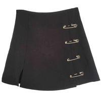 Flectit Punk Rock Style Safety Pin A-Line Minirock mit seitlich Split Hohe Taille Collins Frauen Harajuku Street Wear