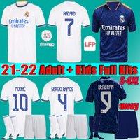 الرجال + الاطفال كيت النساء 2022 ريال مدريد لكرة القدم الفانيلة 21 22 Alaba Hazard Sergio Ramos Benzema Asensio Marcric Marcelo Kroos كرة القدم قميص المشجعين + لاعب S-4XL
