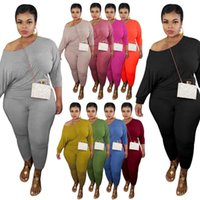 Autumn Womens Plus Size Tracksuits Casual 2 Pieces Set Solid Color Off Shoulder Long Sleeve Top and Long Pant Bodycon Skinny Sportswear