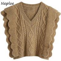 Neploe الخامس الرقبة شيك المتتالية الكشكشة المرقعة سترة الخريف بلون تويست محبوك تانك الأعلى أكمام البلوزات 210510