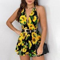 Günlük Elbiseler Vintage Floar Elbise kadın Yaz V Yaka Moda Kolsuz Pileli Ruffles Mini Beach Veztidos De Noche Zarifler Cortos