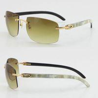 한정판 더 큰 무두질 선글라스 광학 18K 골드 태양 안경 4189705 흰색 내부 검은 버팔로 호른 C 장식 남성과 여성 안경 상자