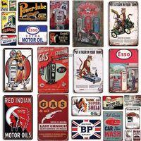 Vintage Tin Sign Esso GULF Retro Bar Metal Gas Oil Art Poster Wall Plaquesrustic Home Decor Platesa