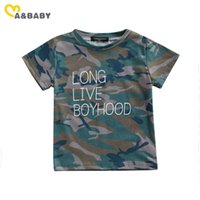 0-5Y Summer Toddler Baby Kid Boy T-shirts Short Sleeve Letter Camo Tee Casual Child Boys Clothing Costumes 210515