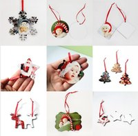 8 Styles Christmas Sublimation Ornaments MDF Heat Transfer Printing Pendant Christmas Tree Wooden Blank Snowflake Decor Sea DDA673