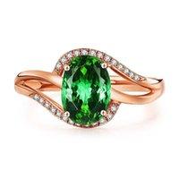 녹색 돌 에메랄드 컬러 로즈 골드 반지 여성용 수요일 반지