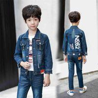 Fashion Kids Sport Suit Boys Cotton Teenage Jeans Clothing Set Spring Autumn Turn-down Collar Coat and Blue Pants Children Suits 210622