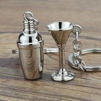 Mini KeyRing Key Ring Cocktail Shaker Keychains Keychains mignon 3D Vin Coupe-service Promotion Bijoux Bijoux de mode Voiture de mode Clé Chaînes Titulaire Accessoires 629 K2