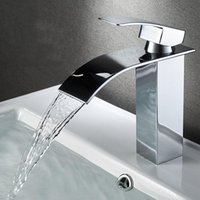 Waterfall Basin Faucet Bathroom Deck Mounted Black Sink Tap ...