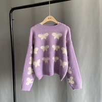 Pull Femme 2021 Otoño Invierno Mujeres Jersey Suéter Coreano Sweet Bowknot Punto Tops Causal Juentes de gran tamaño Algodón Poliéster Swe