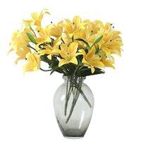무리 인공 릴리 홈 장식 룸 데스크에 대 한 흰색 노란색 핑크 꽃 장식 웨딩 액세서리 장식 장식 꽃 화환