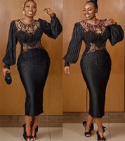 2021 Plus Size Arabic Aso Ebi Black Luxurious Sexy Prom Dresses Beaded Sheer Neck Tea Length Evening Formal Party Second Reception Gowns ZJ704