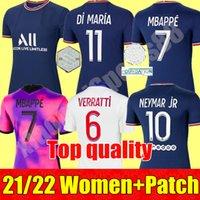 PSG Kadınlar Futbol Forması 2021 2022 Paris Ev 4th Sergio Ramos 30 Messi Verratti Cavani Mbappe 21 22 Bayanlar Futbol Gömlek Di Maria Kız Üniformaları En Kaliteli