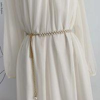 Pearl Waist Chain Fashion Dress Decorative Chain Beaded Thin Belt Ladies Belts 1220577
