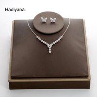مجموعات المجوهرات hadiyana لامعة مكعب الزركون 2 قطع مجموعة الأزياء فراشة أقراط قلادة للنساء حزب الهدايا TZ5045
