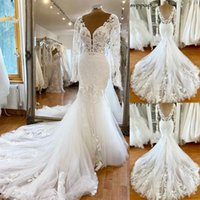 Gorgeous Mermaid Wedding Dresses Long Sleeves Bridal Gown Lace Applique Plunging V Neck Pleats Ruched Custom Made Plus Size Backless vestido de novia