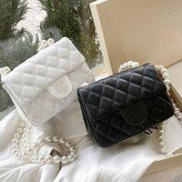 Moda Pearl Cadena Messenger Bolsa de Mensajera Marca de lujo Diseño de lujo Gratuito Color Sólido Color Sheepskin Wallet Lady Bags Bags Bolso con caja y polvo