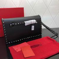 Rivet Clutch Bags Women Handbags Wallet Stud Wristlet Hand Bag Real Leather Fashion Letter Detchable Chain Shoulder Strap Interior Pocket Golden Nails Handbag