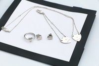 Europe America New Arrival Fashion Jewelry Sets Men Lady Womens 925 Sterling Silver Engraved G Letter Heart Pendant Necklace Bracelet Earrings Ring