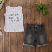 Детские дизайнерские Одежда для мальчиков Буква футболки Джинсовые шорты 2 шт. Устанавливает Устройства без рукавов Детские наряды Летняя детская одежда 861 V2