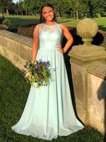 Sweet Bridesmaid Dresses Lace Chiffon A-line Long Maid of Honor Gown Prom Dress for Wedding Party