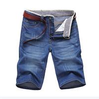 Classdim мужские джинсовые шорты хорошее качество короткие джинсы мужские хлопчатобумажные сплошные прямые джинсы мужские голубые повседневные джинсы X0601