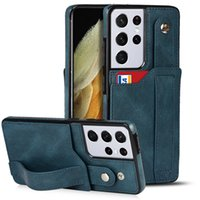 Wristband Leather Wallet Case for iPhone 13 12 Mini 11 Pro Max XR XS 7 8 Plus Card Slot Clutch Purse Sturdy Business Bracket Protective Shell Anti-fall
