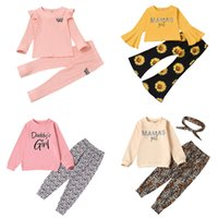 Kids Girls Cartoon Outfits Flare Sleeve Tops Letter Printed Ruffle Shirts Toddler Sunflower Pants Infant Leopard Trousers Ropa Bebe 061208