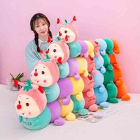 Look up strawberry caterpillar plush long sleeping pillow doll in bed girl