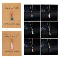 hot Selling Personalized Multicolor Opal Drop Paper Card Necklace Temperament Clavicle Chain Spot Dogeared pendant Manufacturer Wholesale