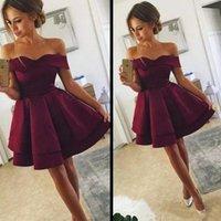 Summer Short Satin Homecoming Dresses Sweetehart Off Shoulder Graduation Party Gowns Zipper Back Club Wear Vestidos
