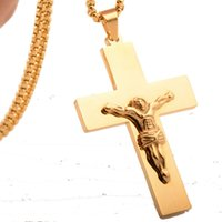 necklace steel Men's stainless vacuum Gold Plated Cross Jesus Pendant Nelace