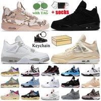 nike air jordan 4 off white travis scott jordan retro 4 4s Com Box Jumpman Union 4 Guava Ice Mens Mens Womens Basketball Sapatos Fogo Vermelho Mens Trainers Sneakers