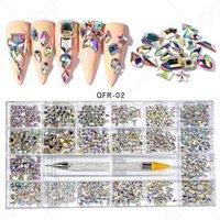 400 قطع / 480 قطع متعدد الأشكال زجاج كريستال ab الراين لمسمار الفن الحرفية، مزيج نمط بلورات flatback 3d ديكورات