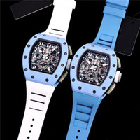 KV تنتج ساعات المعصم الرجال Baby Blue RM011 FM Ultimate Edition مجهزة 7750 الياقوت الكريستال الزجاج مرآة الشريط المطاطي الطبيعي مع الحركة